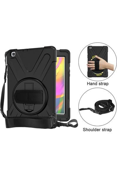 Happyshop Samsung Galaxy Tab S6 Lite P610 Kılıf Askılı Standlı Ultra Korumalı Defander Kılıf Siyah