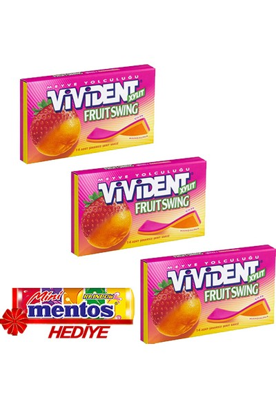 Vivident Cüzdan Mandalina-Çilek 3'lü + Mentos Mini