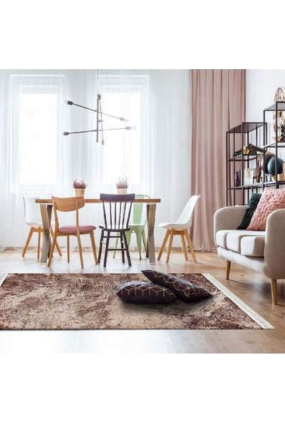 Henge Modern Mermer Desenli Kahve Vizon Bej Renkli Klasik Baskılı Kilim