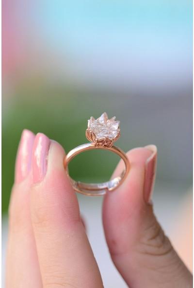 Lotus Gümüş Kırık Lotus Çiçeği 925 Ayar Gümüş Yüzük
