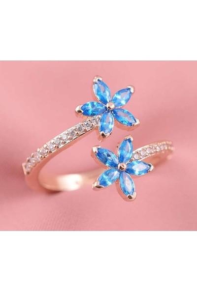 Lotus Gümüş Unutma Beni Çiçeği Ayarlanabilir Mavi 925 Ayar Gümüş Kadın Yüzük