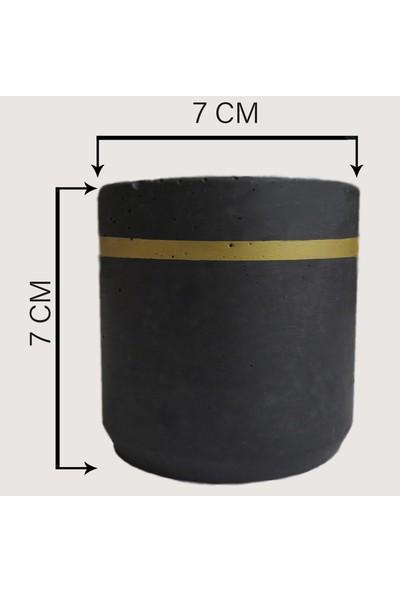 Ghogol Home Beton Sukulent Saksısı - Altın Sarısı Şeritli