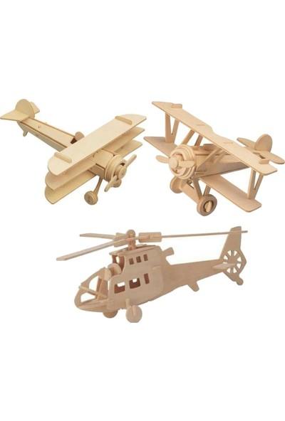 Lederax 3D Ahşap Maket Uçak Seti