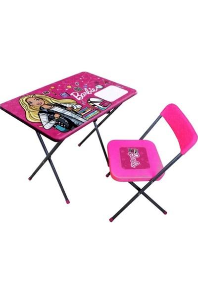 Vardem Barbie Çocuk Oyuncak Ders Çalışma Masası ve Sandalyesi