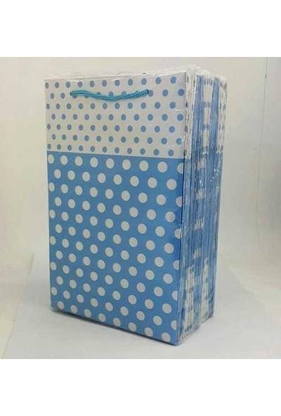 Kullanatparty Karton Çanta 25'li Mavi Puantiyeli 17*25 cm