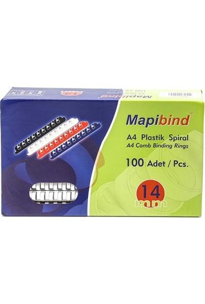 Mapibind 14 mm Plastik Spiral 100 Adet Beyaz