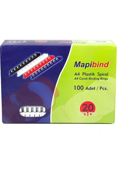 Mapibind 20 mm Plastik Spiral 100 Adet Beyaz