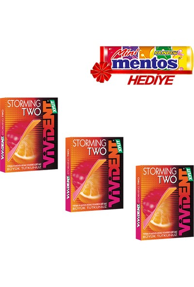 Vivident Stormıng Two Portakal Ahududu 3'lü + Mentos