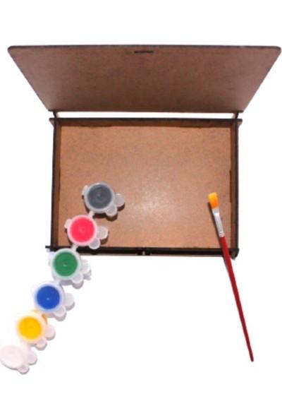 Joy And Toys Canım Annem Ahşap Kutu Boyama Seti 3'lü - 6'lı Akrilik Boya + Fırça