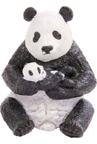 Papo Oturan Panda ve Bebeği Figürü