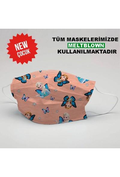 3nnn Frozen Desen Yıkanabilir Çocuk Maske (5 Adet)