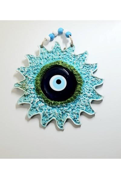Uzman Özel Tasarım Nazar Boncuklu Yeşil Güneş Polyester Duvar Aksesuarı