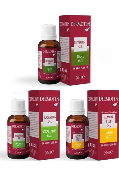Dermoten Aromaterapi Seti - 3 Ürün (Nane Yağı, Okaliptüs Yağı, Limon Yağı)