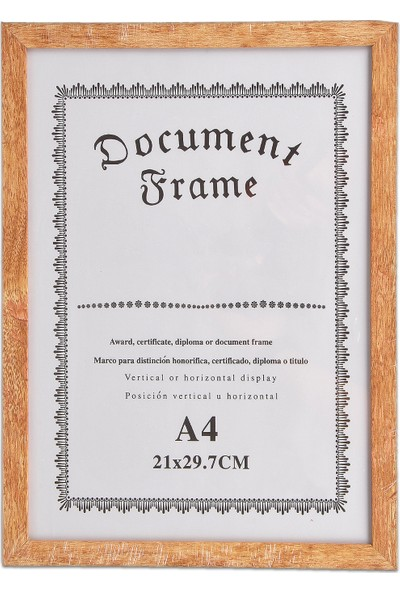 Bimbambom A4 Ahşap Çerçeve, Diploma, Sertifika Cam Duvar Çerçevesi