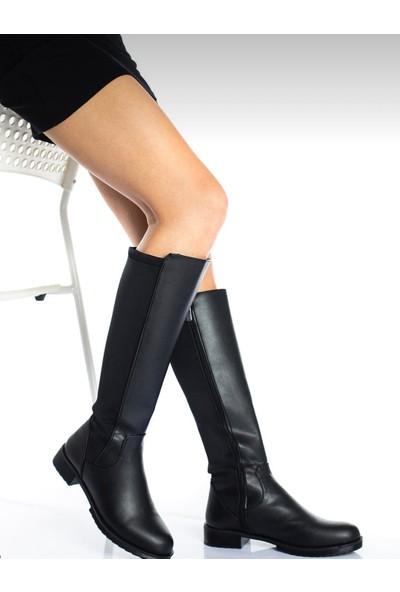 Gny Ayakkabı Kadın Siyah Dalgıç Kumaş Detaylı Esnek Dizaltı Çizme
