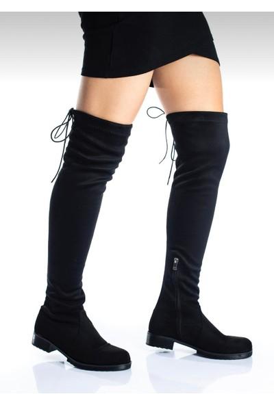 Gny Ayakkabı Kadın Siyah Süet Çizme
