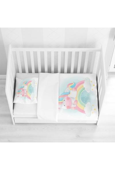 Else Halı Else Sarı Pembe Gök Kuşağı Unicorn Atlı 3D Bebek Nevresim Takımı