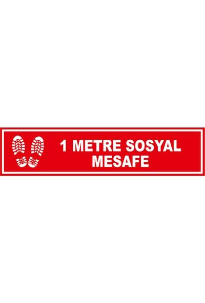 Mıgnatıs 1 m Sosyal Mesafe Afiş Sticker Yapıştırma 12 x 50 cm 10'lu Syl20