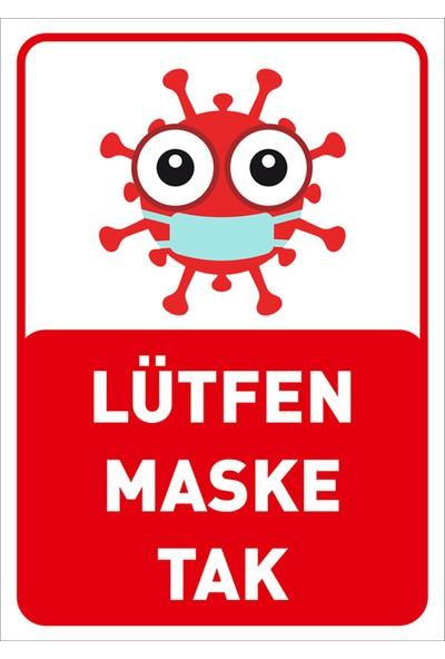 Mıgnatıs Lütfen Maske Tak Korana Simgeli Çocuklar İçin Sac Malzeme 25 x 35 cm Syl45