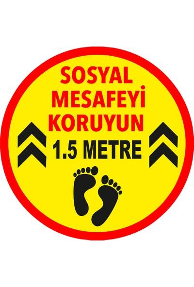Mıgnatıs Lütfen Sağlığınız İçin Sosyal Mesafeyi Koruyalım 1.5 m Ayak İzi Sticker 25 x 25 cm 10'lu Syl06