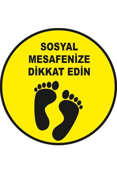 Mıgnatıs Lütfen Sağlığınız İçin Sosyal Mesafeyi Koruyalım Zemin Sarı Siyah Renk Sticker 25 x 25 cm 10'lu Syl12