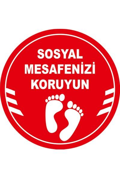 Mıgnatıs Sosyal Mesafenizi Koruyun Yazılı Yere Yapıştırılacak Sticker 35 x 35 cm 10'lu Syl18