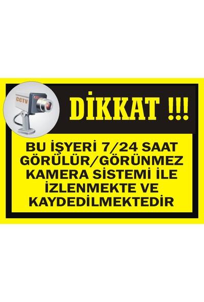 İzmir Serifgari Bu İşyeri 7/24 Saat Görülür/Görünmez Kamera Sistemi İle İzlenmekte Ve Kaydedilmektedir Sticker Uyarı Levhası 17,5 x 25 cm