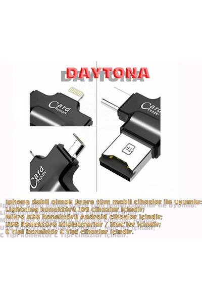 Daytona 4 In 1 iOs Android Type-C Lightning USB-A MicroSD TF Kart Okuyucu