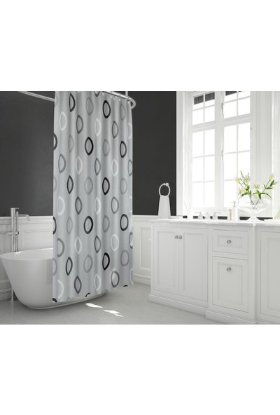 Zethome Tropik Banyo Duş Perdesi 5033 Çift Kanat Gri 2 x 120 x 200