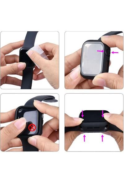 Case Street Apple Watch 6 44 mm Ekran Koruyucu Full Glue Gard Renkli Sarı