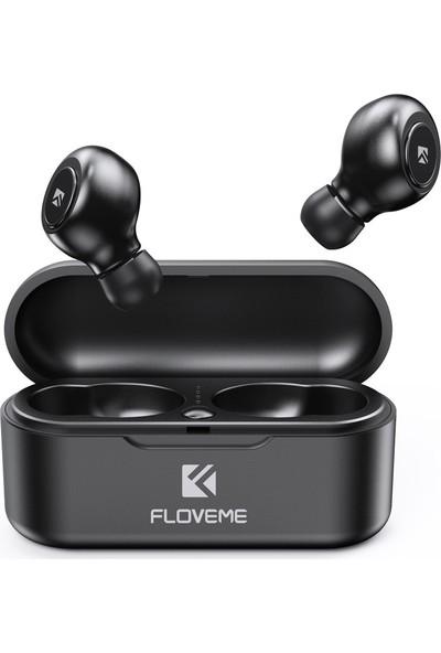 Floveme Tws True Wireless Bluetooth 5.0 Telefon Kulaklığı Mini Taşınabilir 3D Stereo 2'li Şarj Kutulu Kulaklık Aramaları - Siyah (Yurt Dışından)