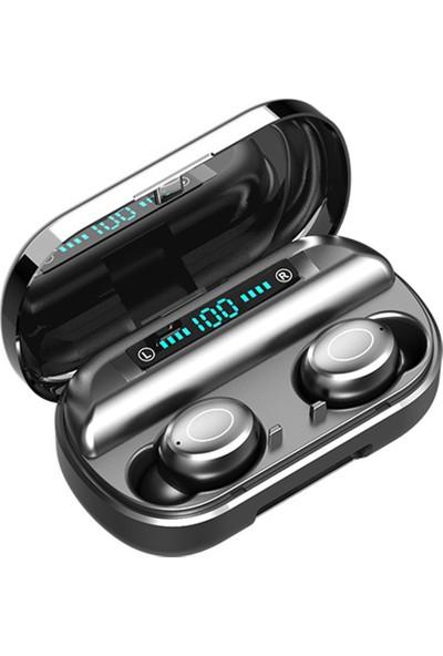 Insma V9 Tws Kablosuz Bluetooth 5.0 Telefon Kulaklığı 4000MAH LED Pil Ekran Dokunmatik Kontrol Ipx7 Su Geçirmez 9D Surround Sesli Kulaklıklar Şarjlı Kılıf - Siyah (Yurt Dışından)