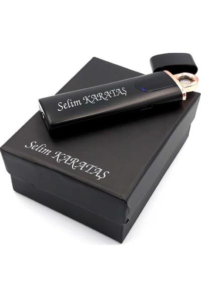 Silvio Monetti İsme Özel Dokunmatik Ekranlı USB Şarjlı Elektronik Çakmak Siyah