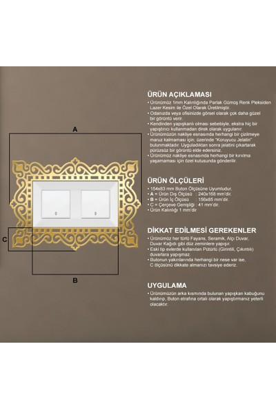 Tual Dekoratif Pleksi Priz Anahtar Buton Çerçevesi Gold
