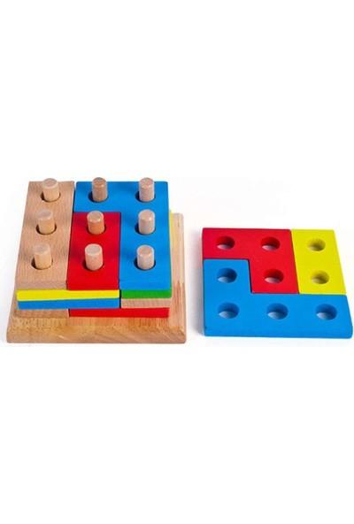 Teknovital Ahşap Geometrik Oyuncak Bloklar