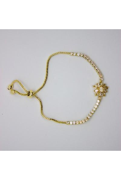 D'amore Atelier Altın Kaplama Çiçek Model Zirkon Taşlı Bileklik
