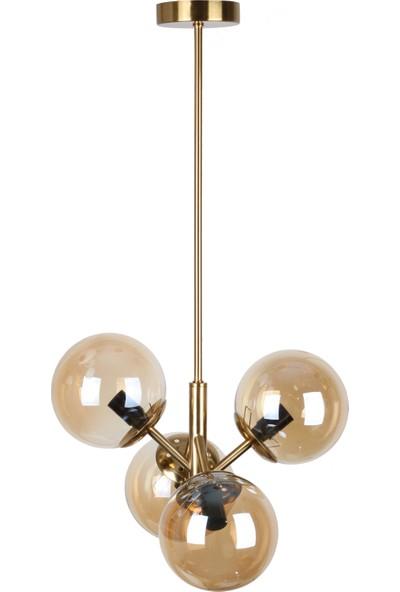 fivorno aydınlantma Bubble Lamp Bal Renk Kaplamalı 4 Kollu Bal Camlı Sarkıt