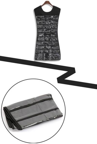 ION Elbise Şekilli Siyah 21 Cepli Takı Düzenleyici Organizer Yüzük Kolye Bilezik Düzenleyici