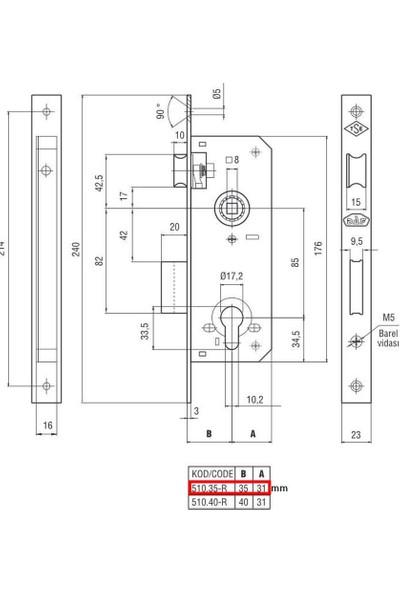 Daf 510.35-R-ST Silindirli Rulmanlı Rozet Kollu Dış Kapı Kilidi
