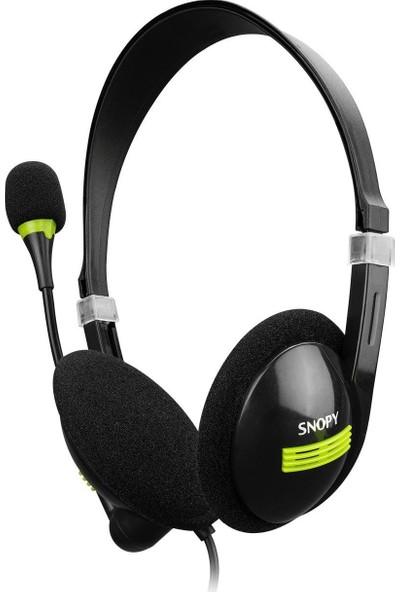 Snopy SN-2020 Siyah USB Çağrı/eğitim Için Mikrofon Kontrollü Stereo Call Center Notebook Kulaklık