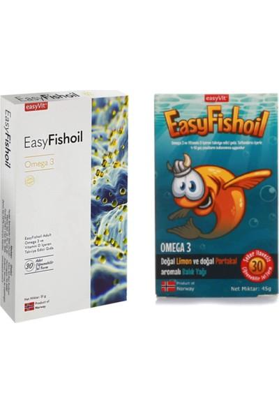 Easyvit Yetişkin ve Easy Fishoil Çocuklar İçin Omega 3 İçeren Takviye Edici Gıda 2'li Set