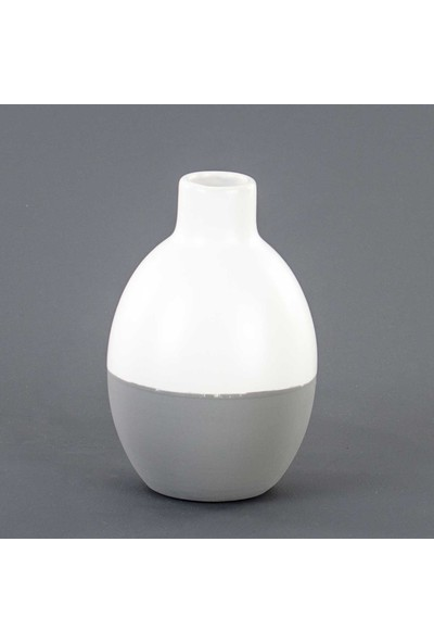Euro Flora Iki Renkli Seramik Vazo Beyaz/gri 10X15 cm