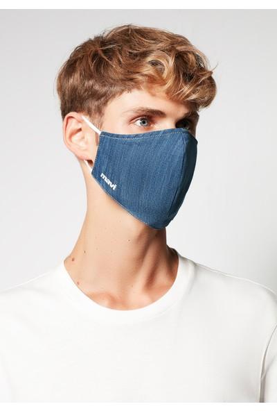 Mavi Erkek Denim Yıkanabilir Erkek Yüz Maskesi 092417-18790