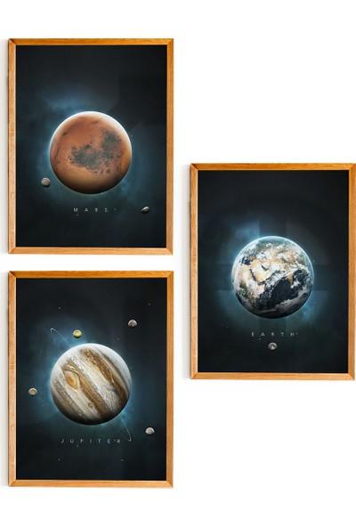 Nesart Ahşap Çerçeveli Gezegenler Serisi 3'lü Tablo Set