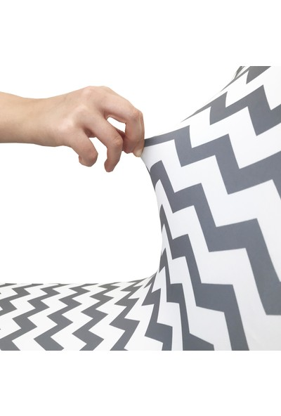 Alyhome Sandalye Kılıfı - Salon Tipi Zikzak Gri 4'lü Set