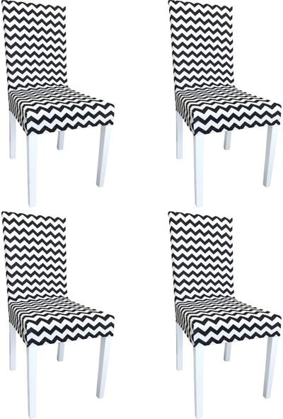 Alyhome Sandalye Kılıfı - Salon Tipi Zikzak Siyah 4'lü Set