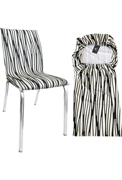 Alyhome Sandalye Kılıfı - Salon Tipi Krem Siyah 4'lü Set