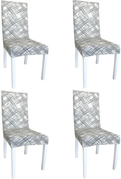 Alyhome Sandalye Kılıfı - Salon Tipi Krem Kare 4'lü Set
