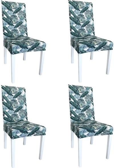 Alyhome Sandalye Kılıfı - Salon Tipi Yeşil Yaprak 4'lü Set
