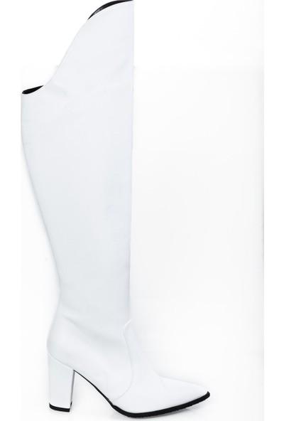 Modagon Balceria Deri Çizme Beyaz